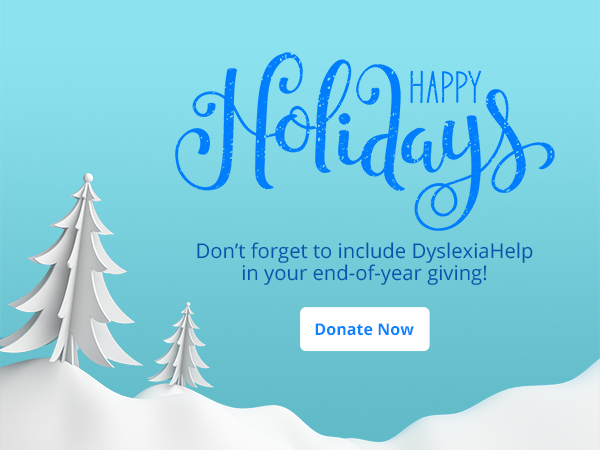 holiday cartoon of snowy hill and trees with a holiday greeting and a donation button